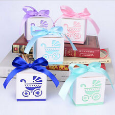 50x Laser Cut Carriage Gift Candy Bomboniere Boxes Wedding Party Baby Favors Box