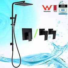 "WELS Black 10"" Square Shower Head Handheld Sliding Rail Wall Arm Mixer/Tap Set"
