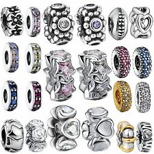 Hot Design Crystals Thin Spacer Bead Charm Jewelry For 925 Silver Bracelet Chain