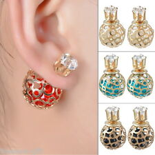 HX 1Pair Double Sides Hollow Gold Plated Crystal Ball Ear Studs Earring