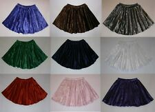 Crushed Velvet Full Circle Elasticated Waist Skater Skirt Dance Baton 9 Colours