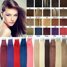 "100% Indian Remy Tape In Skin Weft Human Hair Extensions 16""-26""20Pcs 40Pcs 7A"