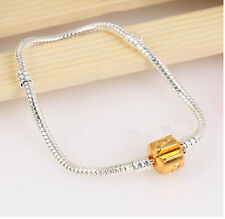 Fashion Silver Snake Chain Bracelet With Gold Buckle Fit European Charm Beads