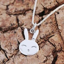 925 Sterling Silver Bunny Face Rabbit Pendant Chain Necklace For Children w Box