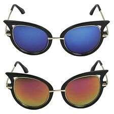 Womens Ultra High MOD Pointed Round Mirrored Reflective Vintage Retro Sunglasses