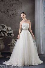 White/Ivory Strapless Beaded Lace A-line Wedding Dress Bridal Gown Custom Size