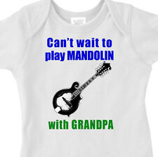"Funny ""CAN'T WAIT TO PLAY MANDOLIN WITH GRANDPA"" Kids Bluegrass Musician Tee"