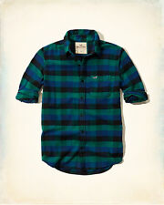 NWT Hollister by Abercrombie Mens Plaid Flannel Shirt green/blue 100% Cotton