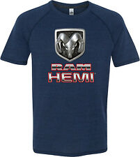 Mens Dodge Ram Hemi Logo Tri Blend V-Neck T-Shirt