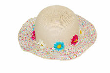 GIZZY® Girls crushable wide brim straw hat with flowers.