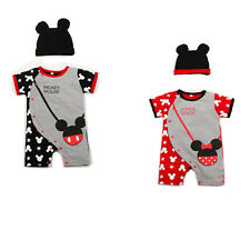 2PC Baby Kids Boy Girl Cotton Romper Newborn Baby Bodysuit + Hat Clothes Rompers