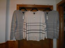 Long Sleeve Crewneck Sweaters GAP size XL,LG,Ivory and Gray Striped NWT