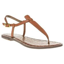 New Womens Sam Edelman Tan Gigi Leather Sandals Flats Buckle Straps