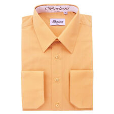 BERLIONI ITALY MEN'S CONVERTIBLE CUFF SOLID ITALIAN FRENCH DRESS SHIRT PEACH