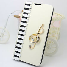 Bling Diamonds Piano Notes PU Leather Wallet Flip Slot Stand Case Cover For HTC