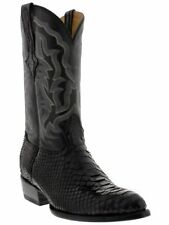 mens black real python snake skin genuine leather cowboy boots rodeo western