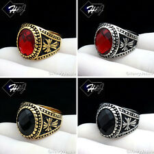 MEN Stainless Steel Gold Silver Black Oval Onyx/Ruby Vintage Ring Size 8-13*R88