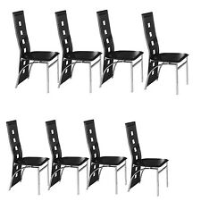 Black Dining chairs Faux Leather Foam Padded 4 6 with Chrome Legs