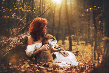 AUTUMN FOREST WOMAN AND FOX SUNSET Wall Art Various Size Canvas Prints