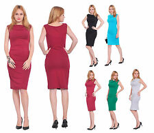 WOMENS OFFICE EVENING COCKTAIL SLEEVELESS KNEE LENGTH BODYCON SLIM FIT DRESS