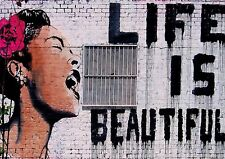 BANKSY LIFE IS BEAUTIFUL Women Graffit Wall Art Various Size Canvas Prints