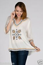 BOHO Embroidered Peasant Top Floral Tribal Blouse 8 10 12 14 16 Bohemian Kaftan