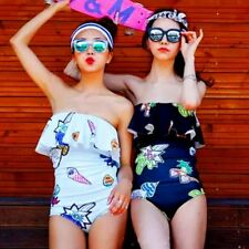 Sexy Push Up Pad Bandeau Flounce Printed One Piece Monokini Swimwear Swimsuit