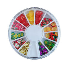 120pcs 3D Mix Fimo Nail Art Nail Tips Polymer Clay Slices Decor Wheel Colorful