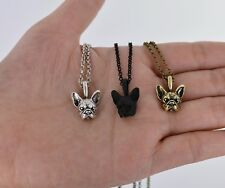 FRENCH BULLDOG HEAD Necklace FRENCHIE  + POUCH/ BOX - SILVER-BLACK-GOLD- GIFT