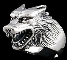 20g HUGE HEAVY WOLF WEREWOLF VAMPIRE KILLER 925 STERLING SOLID SILVER MENS RING