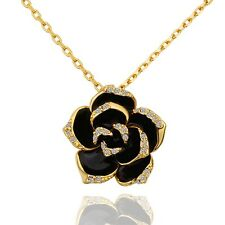 Rose Gold Plated Rose Flower Pendant Chain Necklace Women Platinum Free Shipping