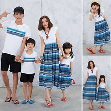 Summer Family Outfits Clothes Mother Daughter Dress Father Boy T-shirt Tops Sets