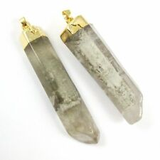 Crystal Spike Pendant, Natural Grey Rutilated Crystal Long Pendulum Pendant