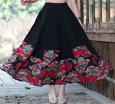Womens Vintage Printed Spliced BOHO Black Skirts Stretch Waist Long Skirt Dress