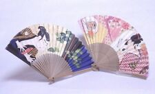 """Sensu"" Japanese Folding Hand Fan ""Kabuki-man (Sharaku)/ Geisha-girl (Utamaro)"""