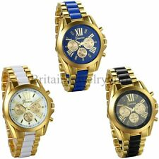 Luxury Mens Classic Stainless Steel Gold Tone Quartz Analog Bangle Wrist Watch