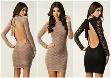 New HONOR GOLD Lace BNWT Backless Halterneck Bodycon Bandage Party Club Dress