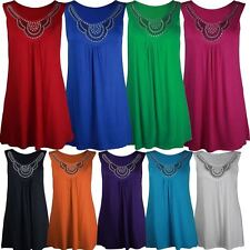 New Womens Plus Size Studded Tunic Beaded Neck Details Vest Tops 14-28