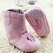 Adorable Baby Girl Minnie Mouse Baby Pink Disney Snow Boots Shoes Pre Walkers