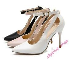 Ladies PU Leather High Heels Pointy Toe Shoes Ankle Strap Sandals Pumps UK Size