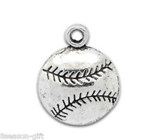 Gift Wholesale Silver Tone Baseball Charm Pendants 18x14.5mm