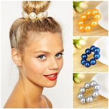 Women Girl Big Large Pearl Hair Band Rope Elastic Ponytail Holder Hair Accessory