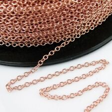 Rose Gold Plated Sterling Silver Chain, 2mm Cable Chain Unfinished  Bulk Chain
