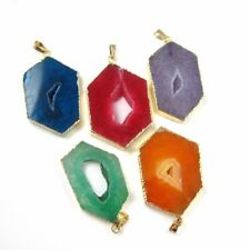Drzuy Geode Window Agate Pendant, Hexagon Agate Pendant, Gold Plated Brass