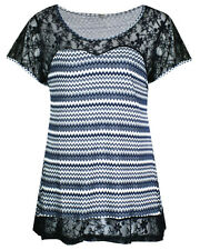 LADIES PLUS SIZE BLUE ZIG ZAG PRINT LACE BORDER TUNIC TOP SIZE 18 - 28