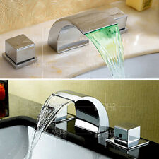 Bathroom Brass Basin Sink Waterfall Faucet Mixer Taps Chrome Double Handles New