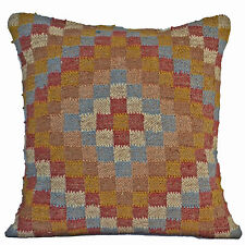 "Handmade Kilim Checks Floor Cushion Covers 24"" Wool Jute Indian Persian Moroccan"