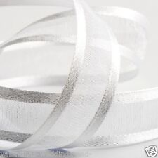 Full Roll Satin Edged Organza Ribbon - White - Craft - Sewing 25m Reel