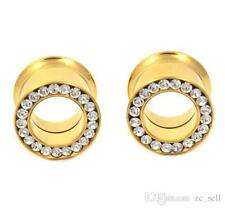 (DFSO) Gold Plated w Clear Cz Stones Double flared Screw-on Tunnels (1 Pair)