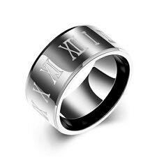 316L Stainless Steel Roman Numerals Wide Glossy Gun Black Men Ring Size 9 10